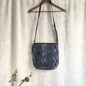 Lucky Brand Bryn Canvas Bucket Bag Blue Chevron